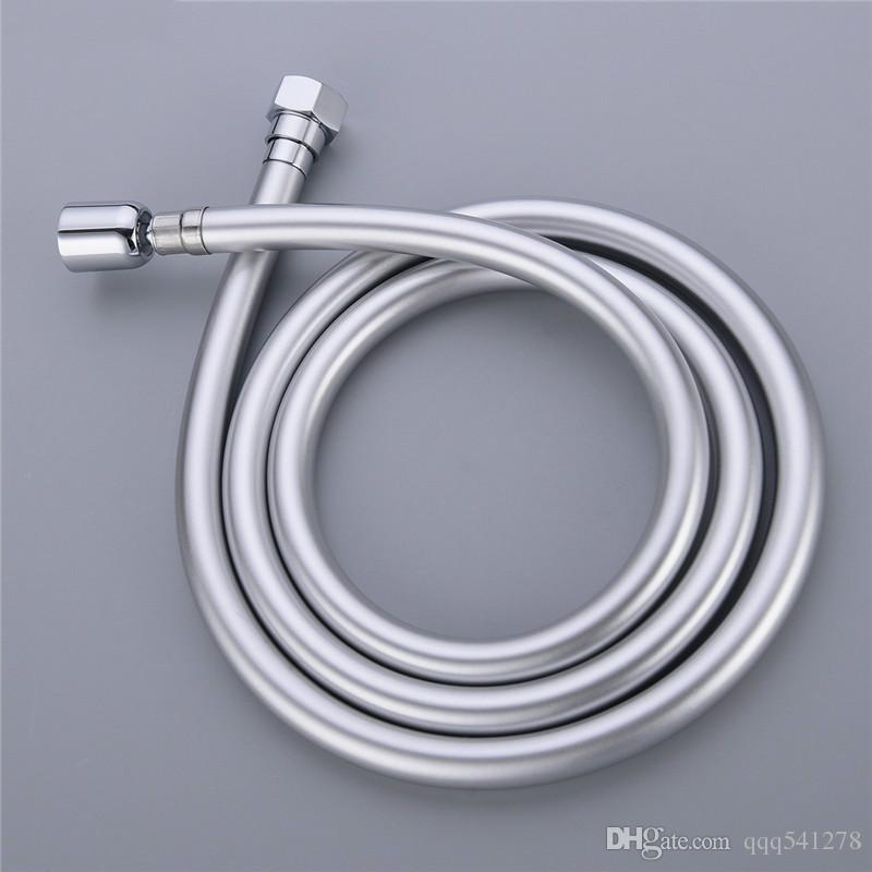 1.5M PVC Flexible Shower Hose 360 Degree Winding Preventing Explosion-proof Pipes Bathroom Shower Set Accessories Silver & Black