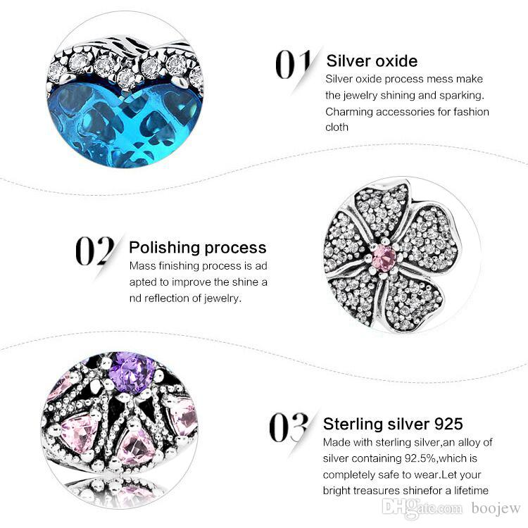 2018 New Fashion Real 925 Sterling Silver Shimmering Radiant Hearts of Ring, Bright Enamel & Royal Bule Crystals For Women Charms Jewelry
