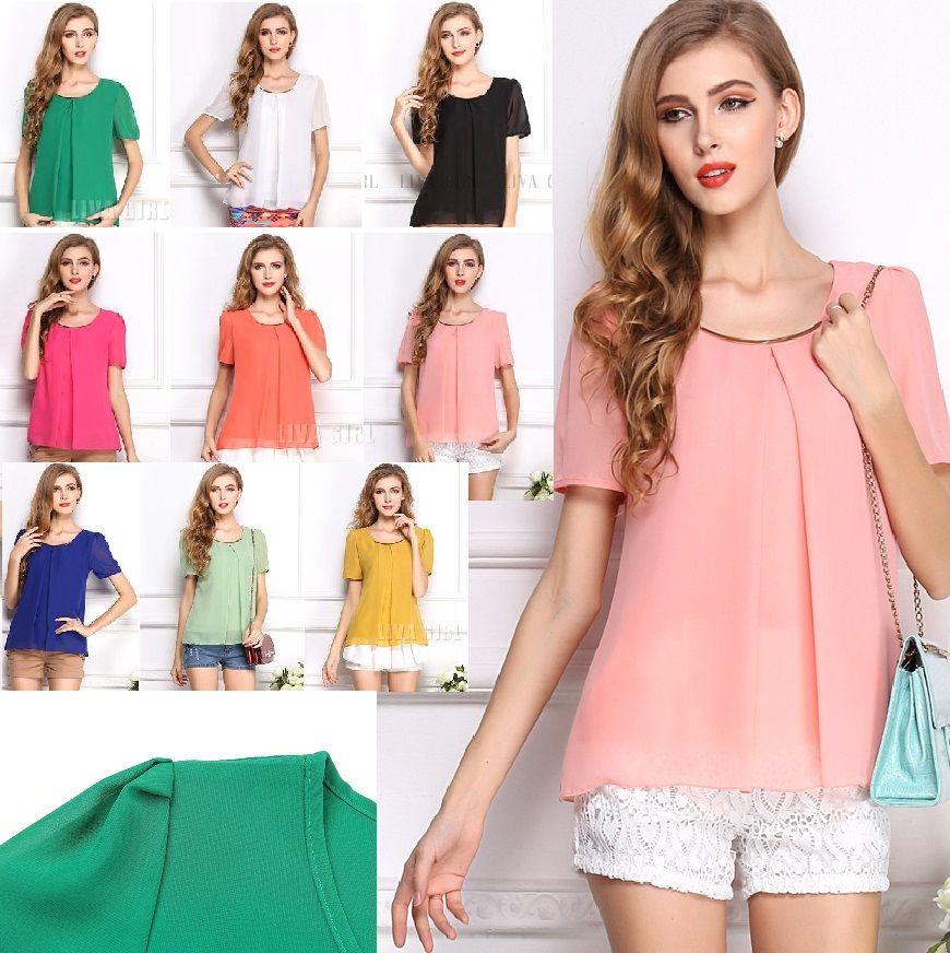 24a696b34ea 2019 Women Home Wear Summer Chiffon Shirt