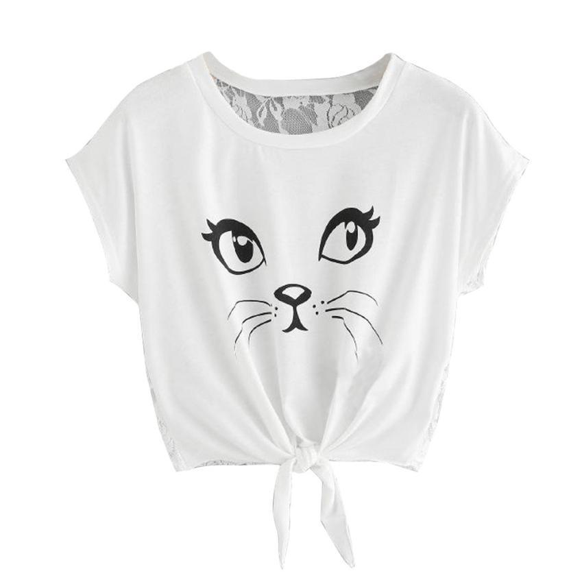 04b1bd5ff7be6 Best Sale T Shirt Women Casual Short Sleeve Round Neck Lovely Cat Printed  Back Hollow Lace T Shirt Crop Tops Camisetas Mujer Graphic T Shirts Custom  Shirt ...