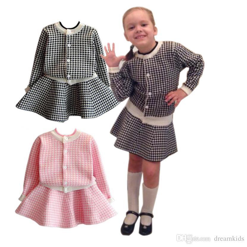 new product c3cc4 aecf1 Set di abbigliamento per bambina Per bambini in maglia di pied de poule  Giacche plaid a maniche lunghe Gonne 2 pezzi per abiti per bambini