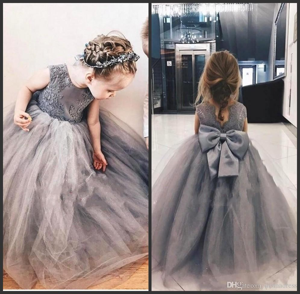 Grey Tulle Ball Gown Puffy Flower Girl Dresses Lace Bow Knot Girls