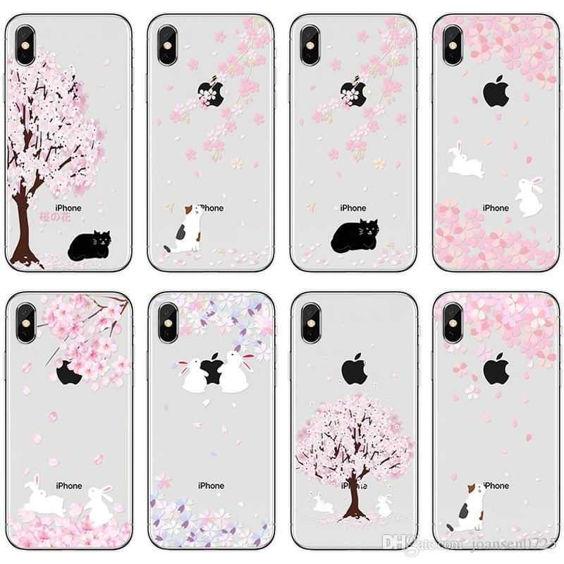 new product f5d4b bbb79 For Apple iphone X 6 6S 7 8 Plus 5S Samsung Galaxy S8 S9 Note 8 Cherry  Blossom Soft Clear TPU Painted Phone Case Back Silicone Cover Shell