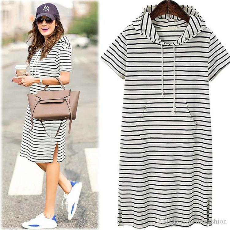 Plus Size Women Hoodies Shirt Dress Summer Short Sleeve Black And White  Striped Blouse Dresses Casual Work Office Dress