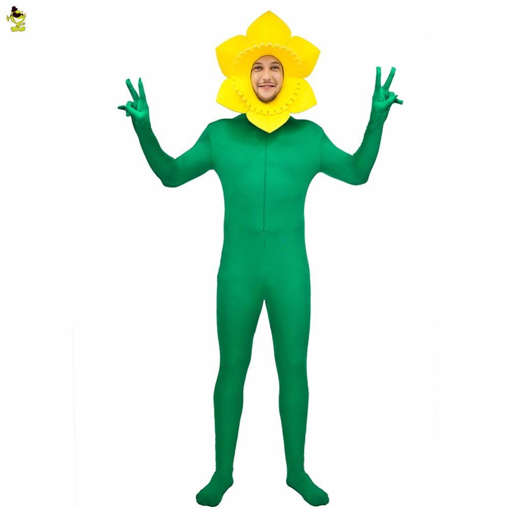 090e8709b5 Acquista Nuovo Costume Da Uomo Adulto Costume Girasole Con Costume Fiore  Giallo E Verde Tuta Divertente Gioco Di Ruolo La Mascotte Del Partito Di  Carnevale ...