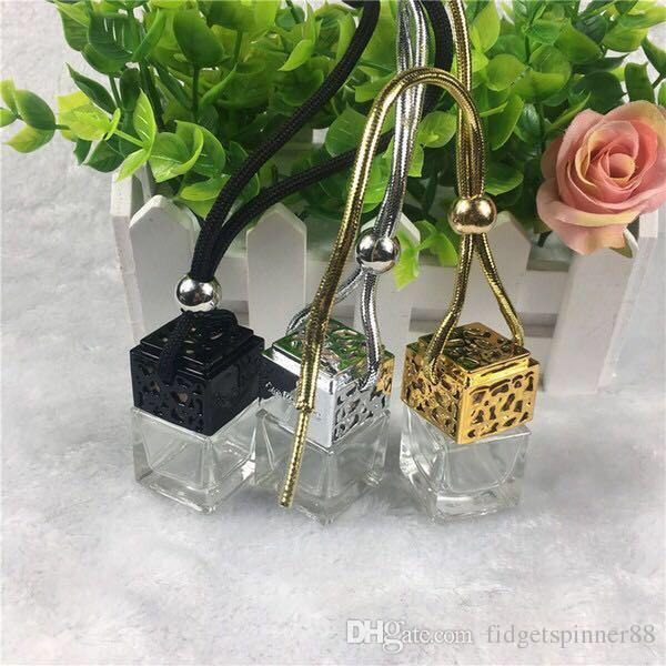 freies Verschiffen 5ml Goldkappe oder silberne Kappe Autohangendekoration Glasessenzöl Parfümflasche Hängen Sie Seilleere Flasche