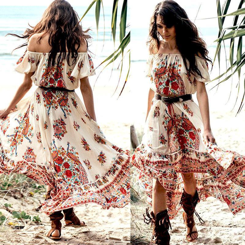 9c94ba387cf Women Summer Boho Chiffon Party Evening Beach Short Sleeve Dresses Floral  Long Maxi Dress Sundress Floral Dress For Women Black Dress On Sale From ...