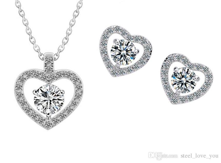 346fa8d8ecd9 Compre Nueva Llegada Para El Día De San Valentín Austria Zircon Crystal  Collar Pendientes Conjuntos De Joyas De Diamantes Conjuntos De Joyas De  Corazón ...