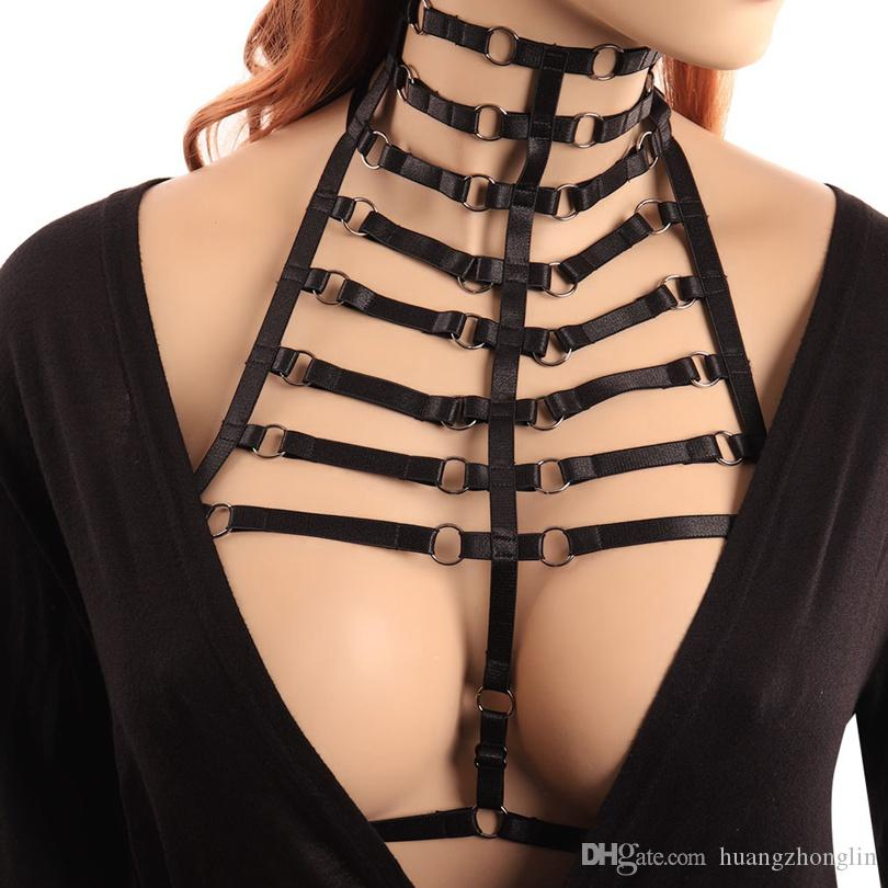 04ab22855ef 2019 Womens Fashion Sexy Harness Bra Bondage Lingerie Body Harness Belts  Black Elastic Strappy Tops Caged Bras Bustier Goth Rave Wear From  Huangzhonglin