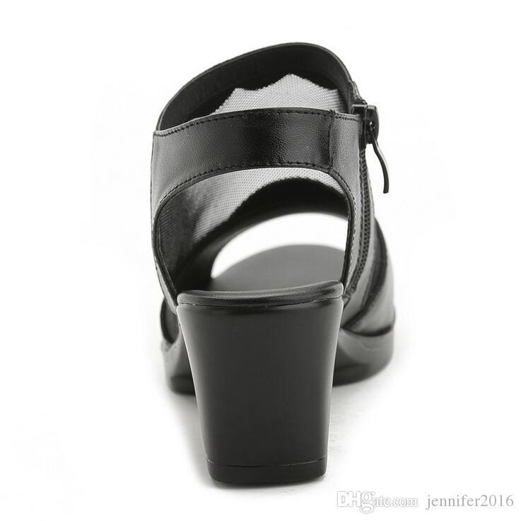 Yeni Yaz Platformu Sandalet Kadın Hakiki Deri Siyah Renk Rhinestones Bayanlar Peep Toe Gladyatör Sandalet Kalın Topuklar EUR Boyutu: 35-41