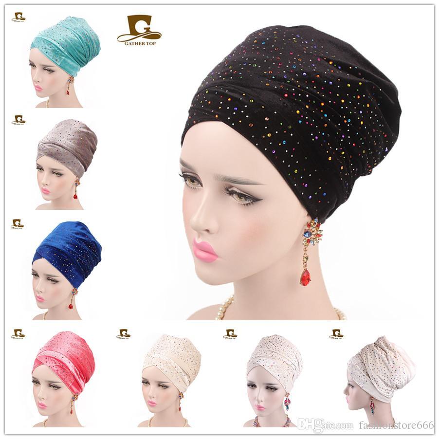 Muslim Headscarf Hat Women Luxury Diamante Extra Long Velvet Turban ...