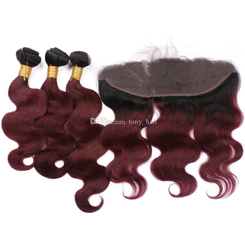 Dark Roots Wine Red Ombre Frontal et Bundles 1B 99J Bordeaux Body Wave Ombre Malaisienne Cheveux Vierges Tisse avec Frontal