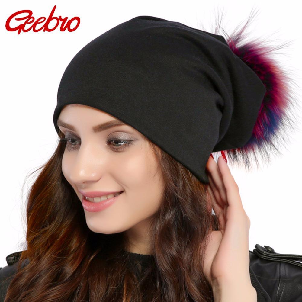 261390afe Geebro Brand Women's Beanie Hat Casual Cotton Pompom Beanies Hats Raccoon  Fox Fur Pompon Skullies Balaclava Caps For Women JS294