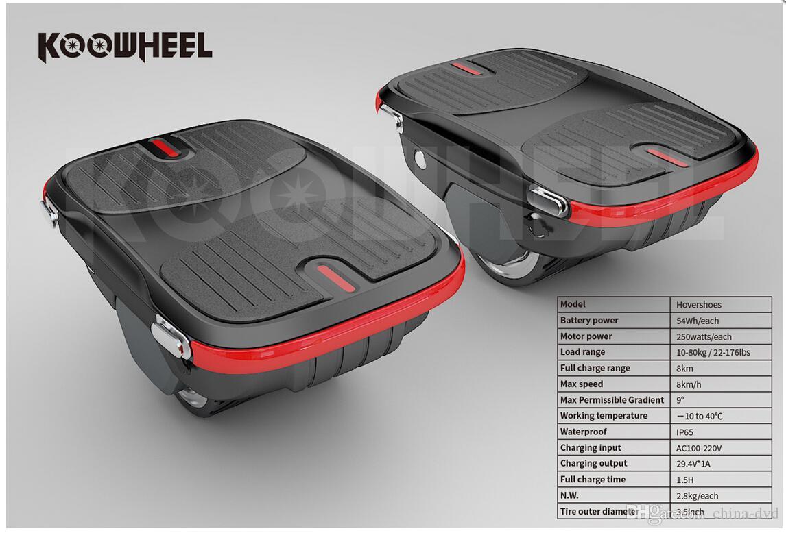2018 NOUVEAU Koowheel Exclusive Patent Hovershoes Chaussures de Skate Électrique Smart Single Wheel Auto-équilibrage Chaussures Hover Planche À Roulettes Potable