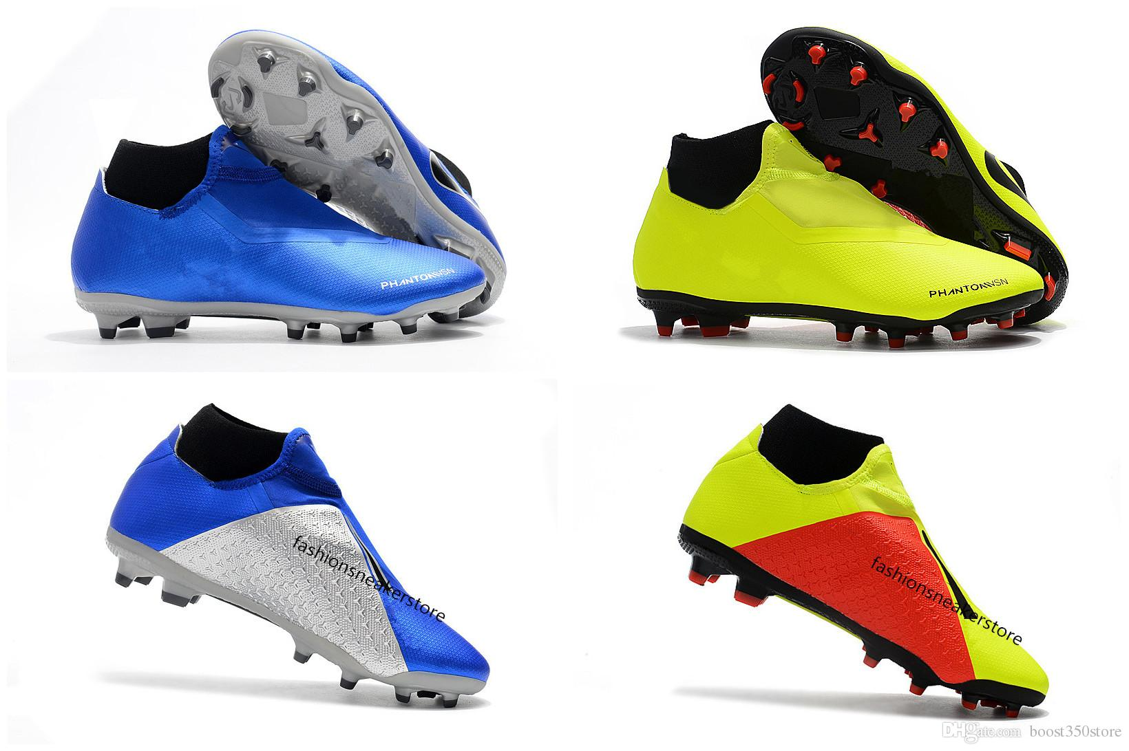 2019 High Quality Football Shoes Phantom Vision Academy MG Dark Series High  Top Soccer Shoes Lime Green Blue Black Red Grey Soccer Cleats From  Boost350store ... f7306be12