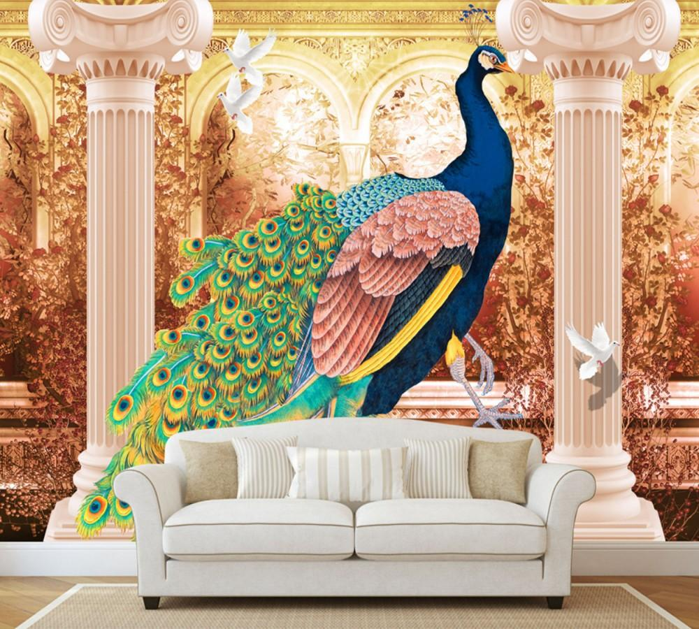 Free shipping european luxury royal roman peacock sofa tv background wall painting custom 3d retro living room bedroom mural