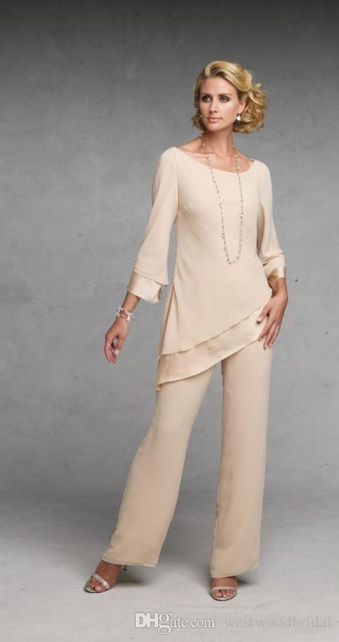 2019 mère des robes de mariée Baeatu en mousseline de soie mère de la mariée deux pièces pantalons costumes costume de mariage invité robe manches longues rangées sur mesure