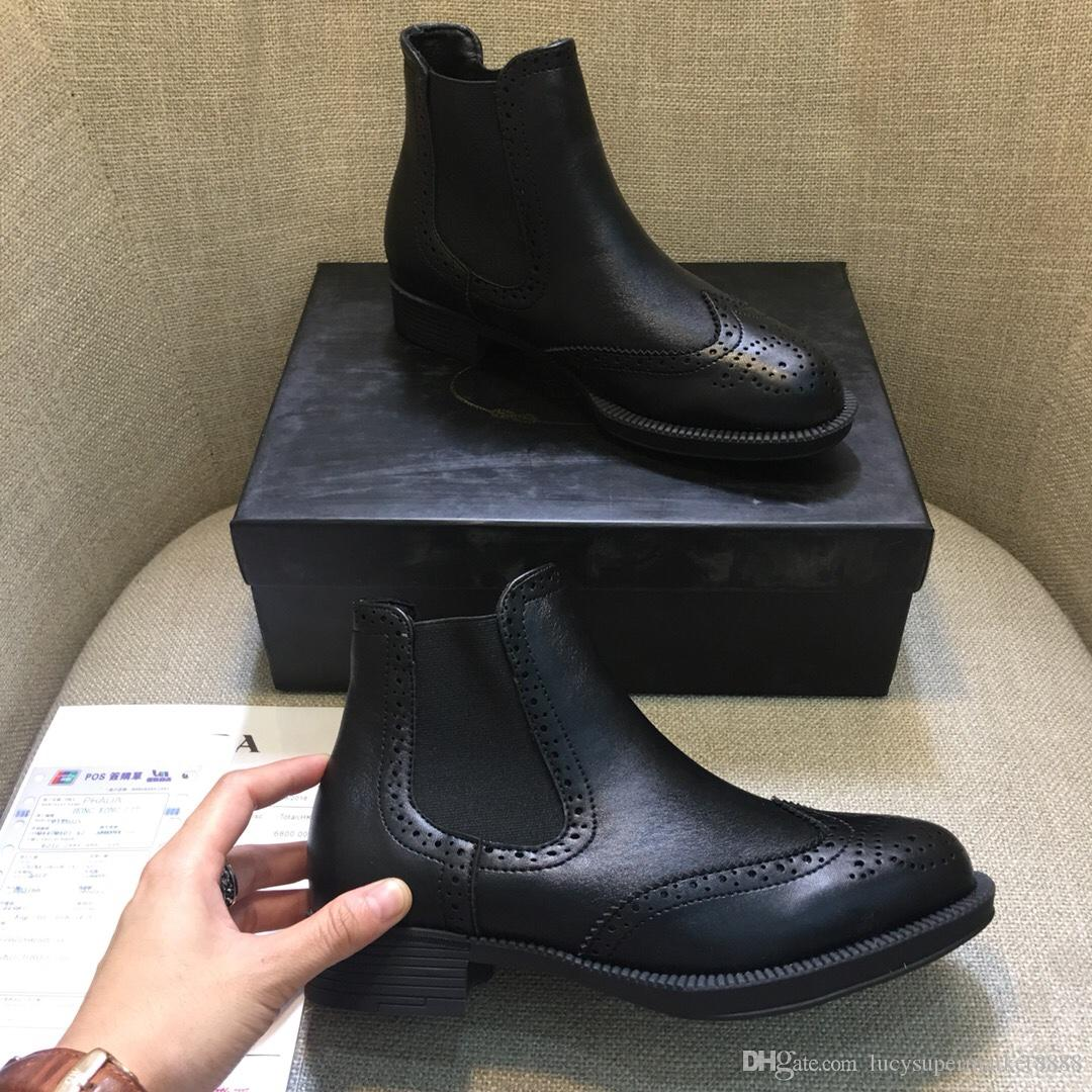 Grosshandel Neue Ankunft Marke Frauen Echtes Leder Stiefel Brogue