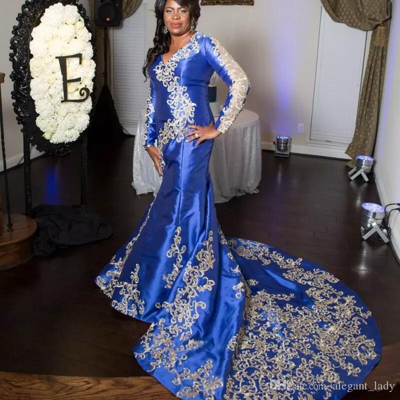 Sexy Royal Blue 2018 Plus Size Prom Dresses Sexy African Nigerian V Neck Floor Length Evening Dress Sweep Train Formal Party Gown
