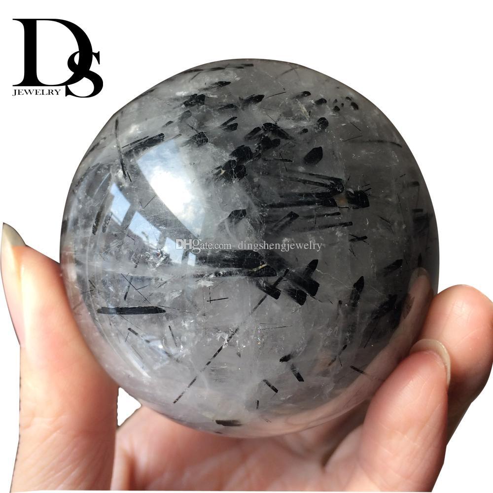 4-5 cm Natural Tourmaline Ball Black Crystal Quartz Sphere Hairstone Orb Mineral Aphrizite Schorlite Chakra Healing Crafts Gifts Decoration