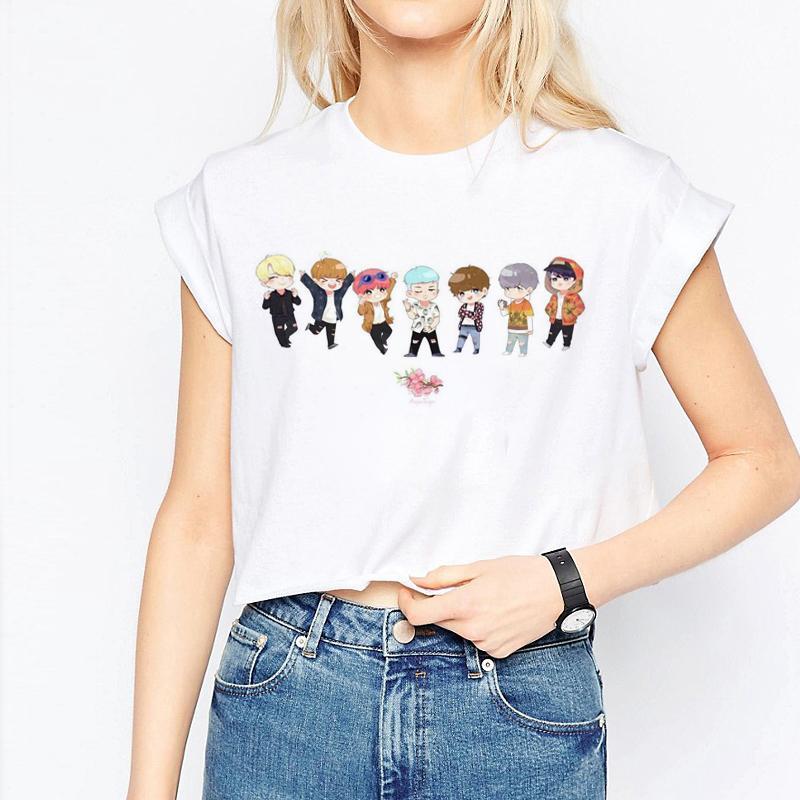 02bb8d469394a BTS Bangtan Boys Harajuku Women Crop Casual Short Sleeve Cartoon Print  Streetwear Tee Tops Female Bts T Shirt V Sugar Hwd030 Original T Shirts T  Shirts With ...