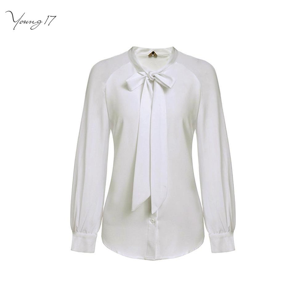 2019 Young17 Long Sleeve White Shirt Women Stand Collar Bow Tie
