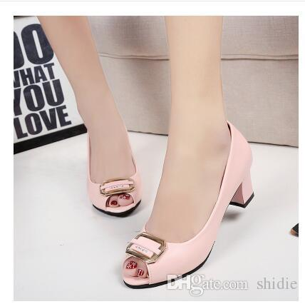 2018 summer new women's fish head sandals with rough heels ashamed shallow mouth casual shoes woman size 35 40