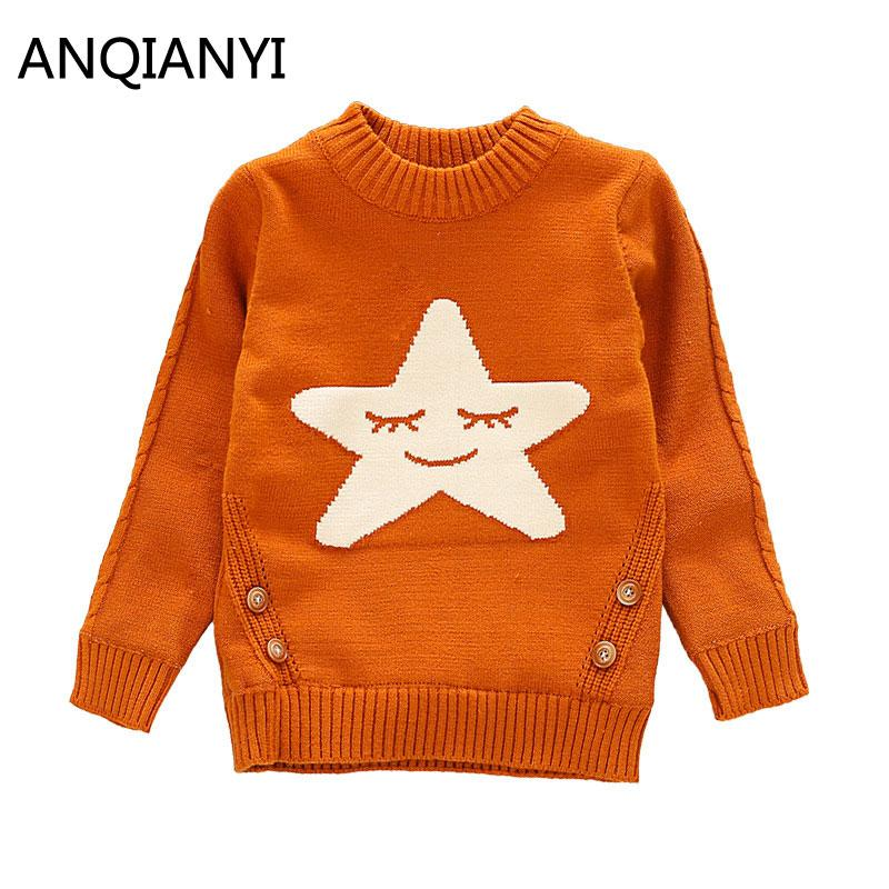 Cute Star Printed Girls Long Sleeve Sweater Fashion Winter Autumn