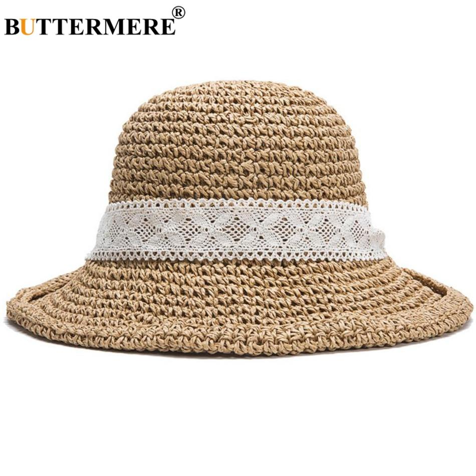 cc5b5c28c3e BUTTERMERE Bucket Hats Women Straw Khaki Fishing Cap Female Lace Foldable  Elegant Anti UV Bowknot Summer Beach Sun Hats New 2018 Cloche Hat Cool Hats  From ...