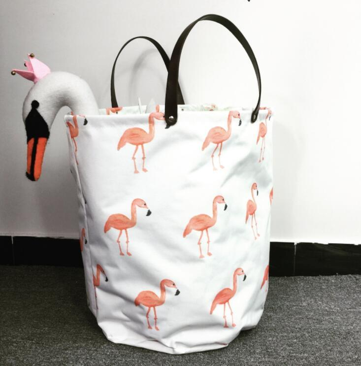 3 design ins Flamingos Storage Basket Bag Clothes Toys Storage Box Sundries Fabric Folding Organizer Bags KKA5871