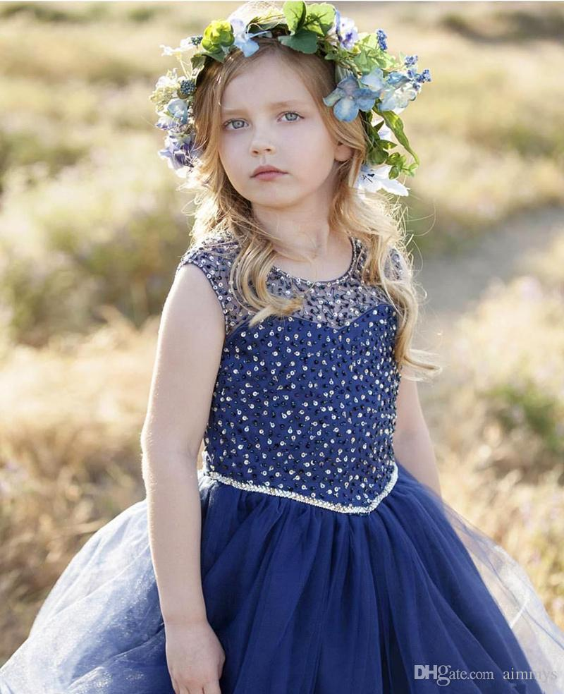 Cheap Royal Blue Beaded Flower Girl Dress With Sleeveless Tulle See Through Pageant Gowns Ball Gown