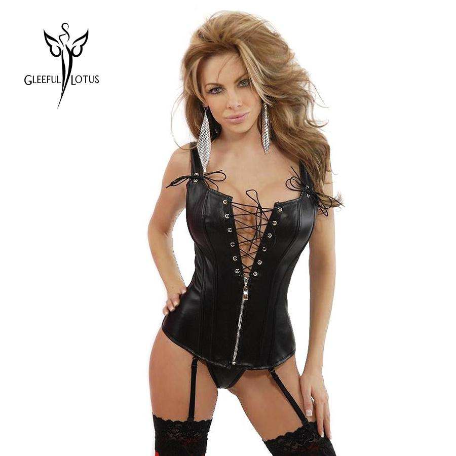 2bbe610d79 Hot Sexy Black Leather Corset Waist Trainer Corsets And Bustier for ...