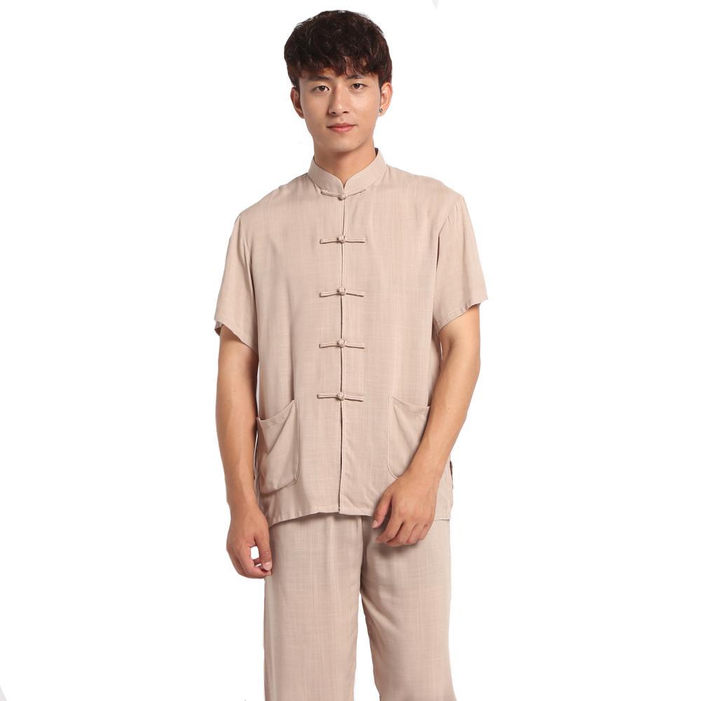84cbf9cf3b36 2019 Casual Men Cotton Linen Pyjamas Suit Shirt&Pants Trousers Sleepwear  Chinese Style Male Handmade Button Pajama Set Home Wear From Vanilla01, ...