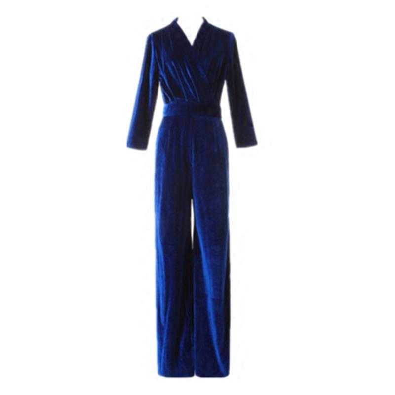 TWOTWINSTYLE Velvet Jumpsuits For Women V Neck Lace Up High Waist Slim Maxi Wide Leg Pants 2018 Autumn Female Vintage Clothing