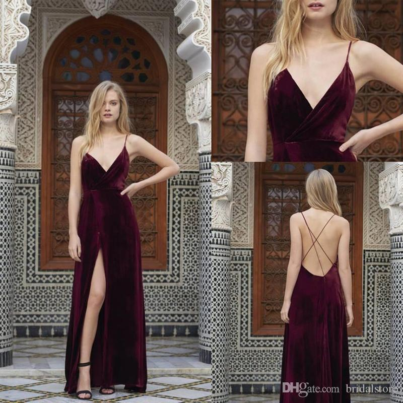 c47592e128a 2018 Elegant Deep V Neck Burgundy Velvet Prom Dresses Spaghetti Straps  Backless Evening Formal Dresses For Women With Slit Robes De Soirée  Bridesmaid Prom ...