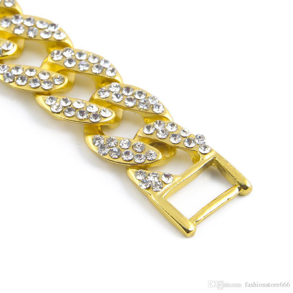 Hip Hop Iced Out Strass Armbänder armreif herren Gold Filled Miami kubanischen link 8 zoll Ketten Für mann hochwertige Modeschmuck Geschenk
