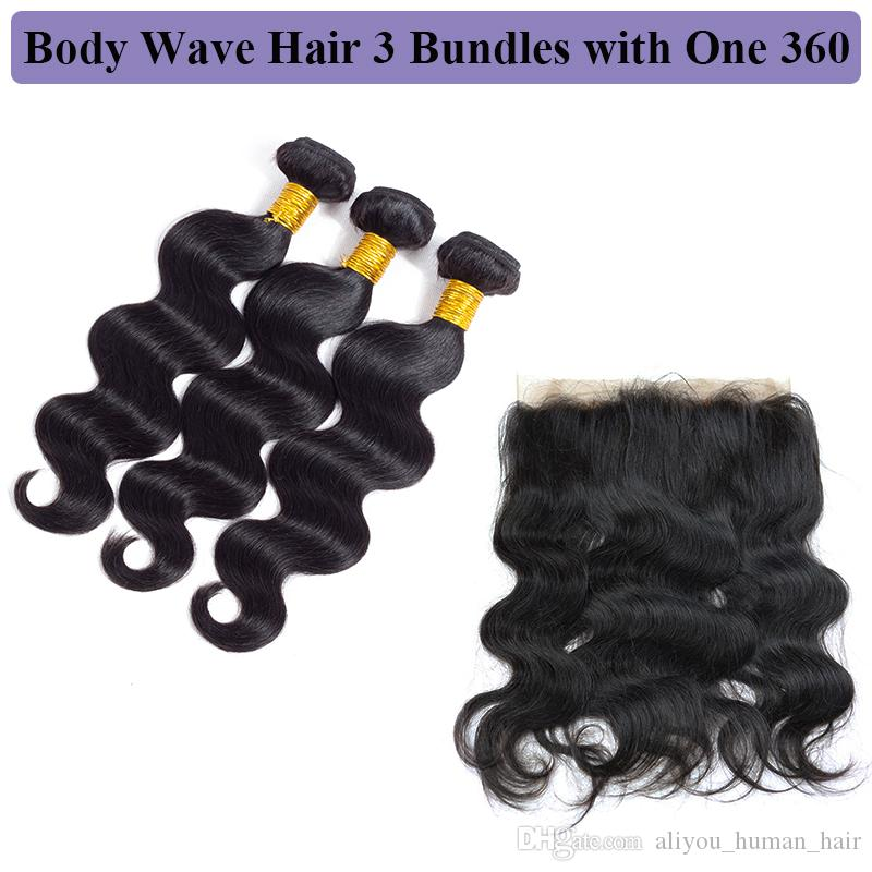 Grade 10a Remy Human Hair Extensions Body Wave And Straight Malaysian Hair 360 Closure with Bundles Brazilian Peruvian Hair 360 Lace Frontal