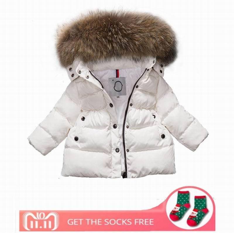 e43934266fec 2018 Winter Baby Girls Boys Cotton Coat Children Real Racoon Fur ...