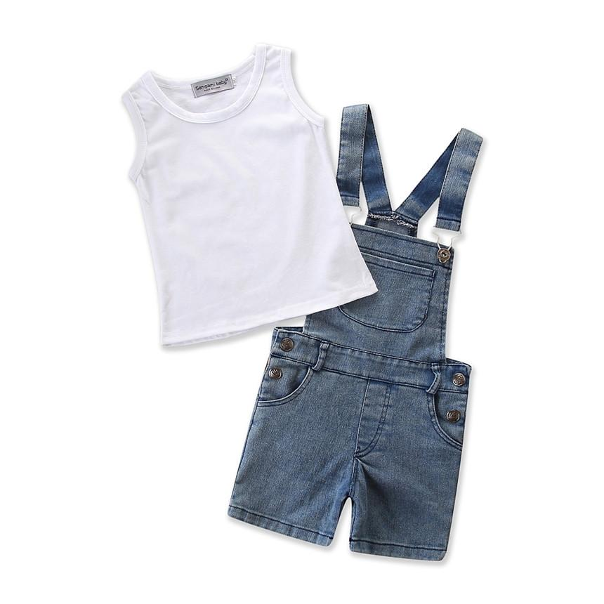 6315ce4ed805 2019 Kids Outfits Baby Boy Clothes Fashion Denim Shorts Suspenders ...