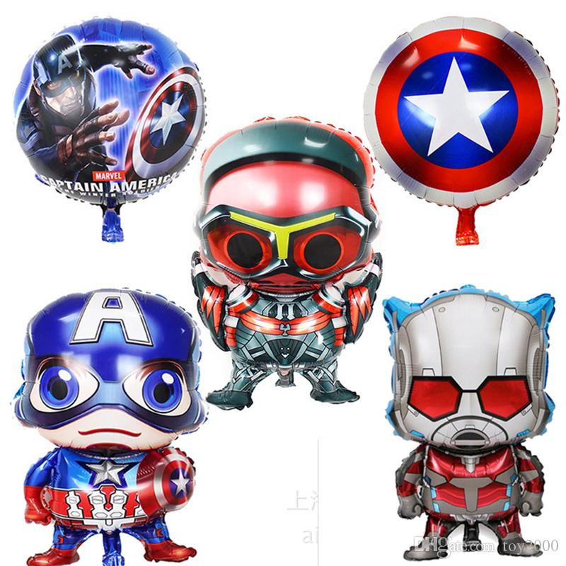 80*45cm Super hero alliance Foil balloons Avengers Captain America Steel ball chivalry birthday party decorations kids toys christmas gift