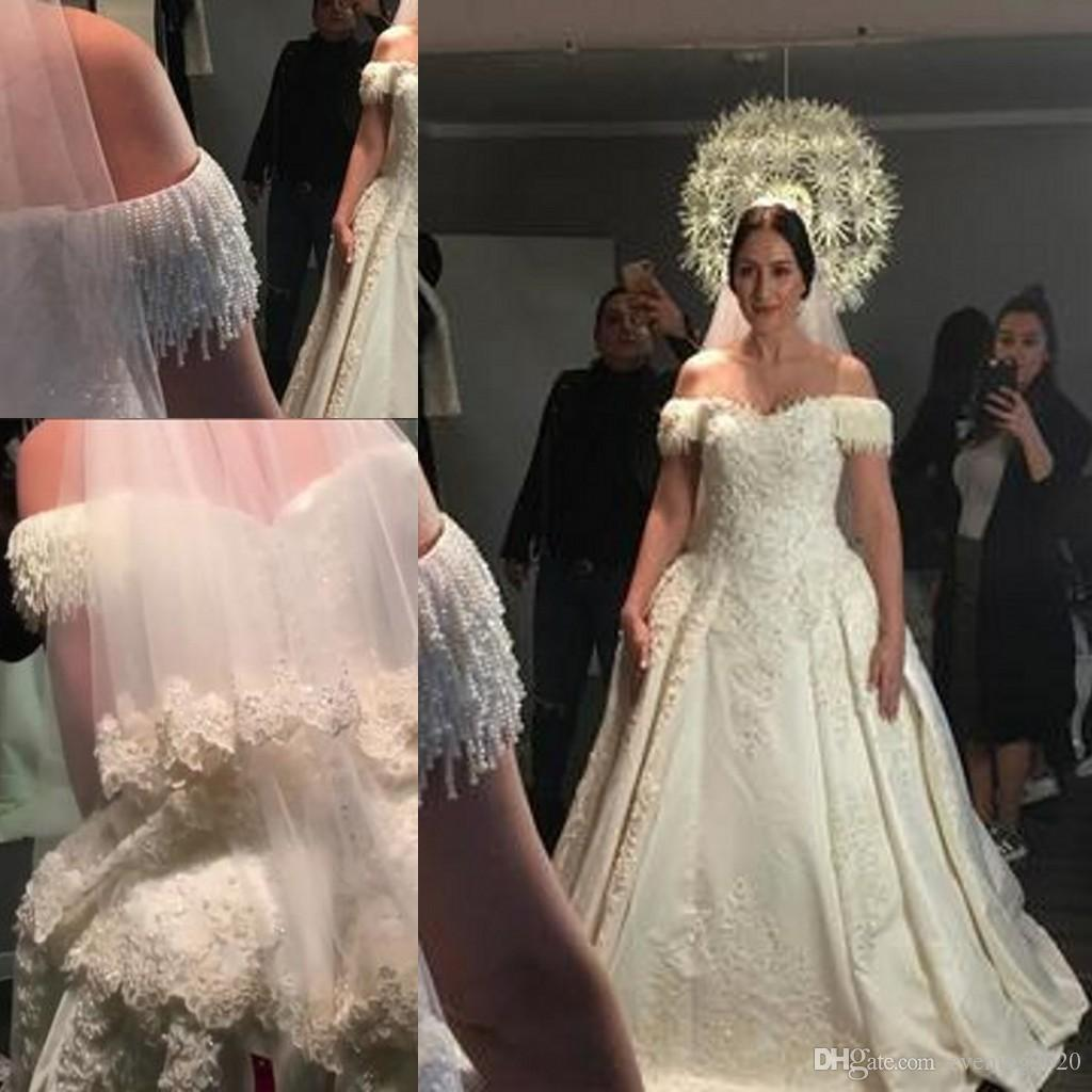 916eecdfb78 Charming Luxury Wedding Dresses Tassel Off The Shoulder Satin Ball Gowns  Noble Lace Appliques With Tassel Tiers Long Skirt Wedding Gown Guest Of  Wedding ...
