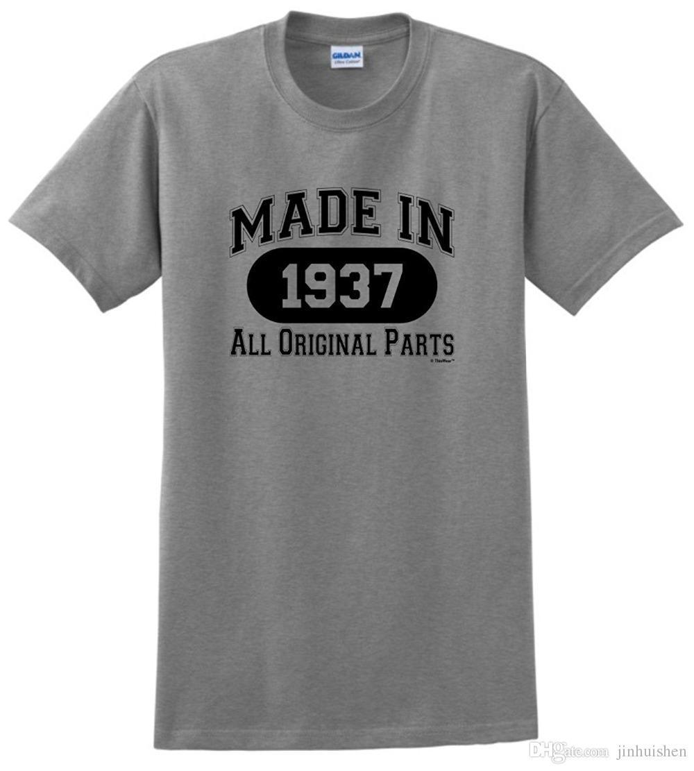 Summer 2018 Famous Brand 80th Birthday Gifts Made 1937 All Original Parts T Shirt Black MenS Tie Shirts Latest Designs From