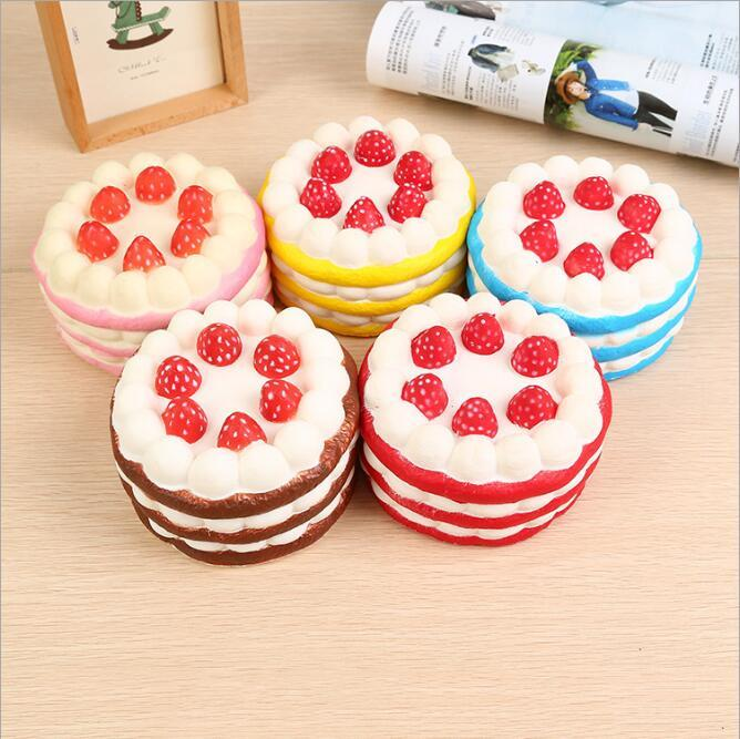 12cm Cheap Kawaii Strawberry Cake Squishy Slow Rising Cream Cake Mango Yellow Rosy Blue Kids New Year Toy Gift free ship