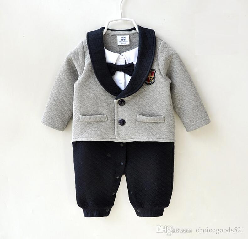 ebdaa802e0e4 Baby Jumpsuit Autumn Winter Boy Gentleman Romper Newborn Handsome Romper  Infant Toddler Long Sleeve Bodysuits Good Quality Romper Baby Clothing  Jumpsuit ...