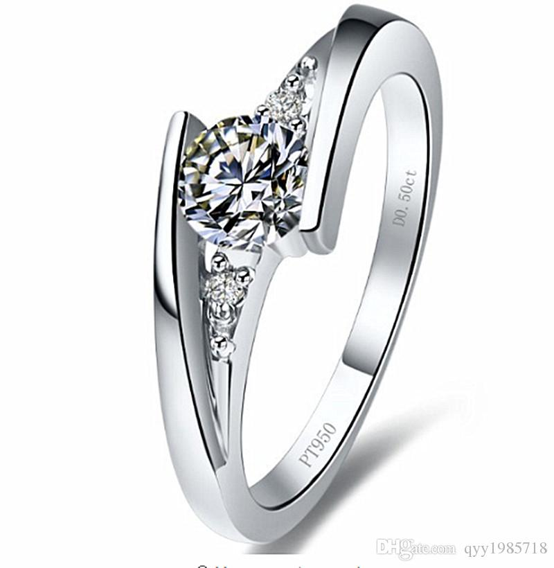 Wholesale 0.75Ct Couple Solitaire Rings Lovers' Synthetic Diamonds Rings Romantic 925 Sterling Silver White Gold Color Love Rings