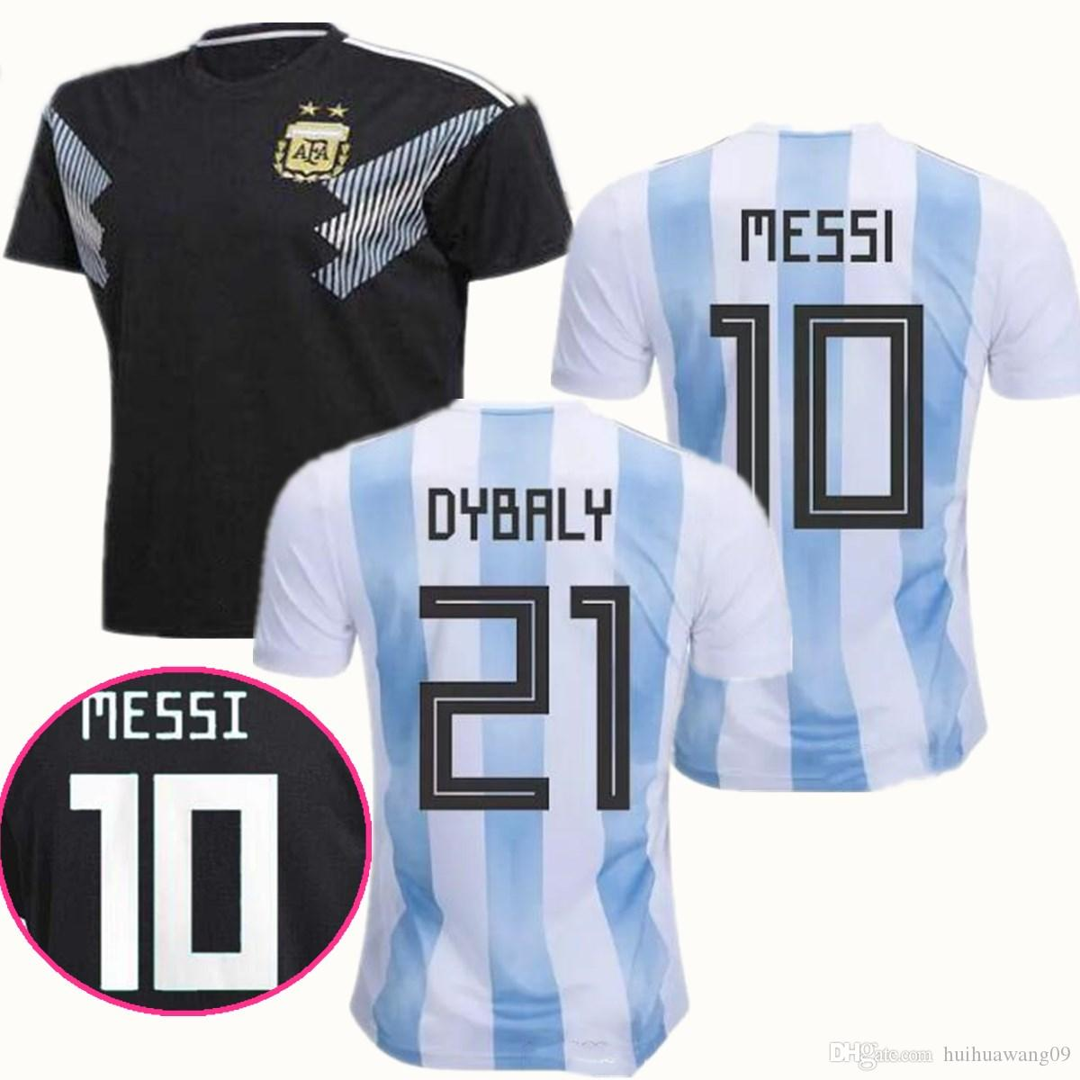 4747fd5246104 Compre Argentina 2018 Camisas De Futebol Casa 2018 Copa Do Mundo Fora Camisa  Preta DYBALA Messi Aguero De Maria Mascherano Higuain Icardi Camisas De  Futebol ...