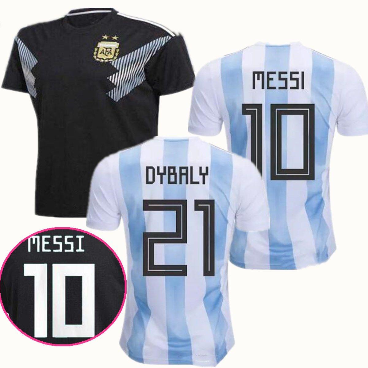 6484c0ab857 2019 Argentina 2018 Soccer Jerseys Home 2018 World Cup Away Black Jersey  DYBALA Messi Aguero Di Maria Mascherano Higuain Icardi Football Shirts From  ...