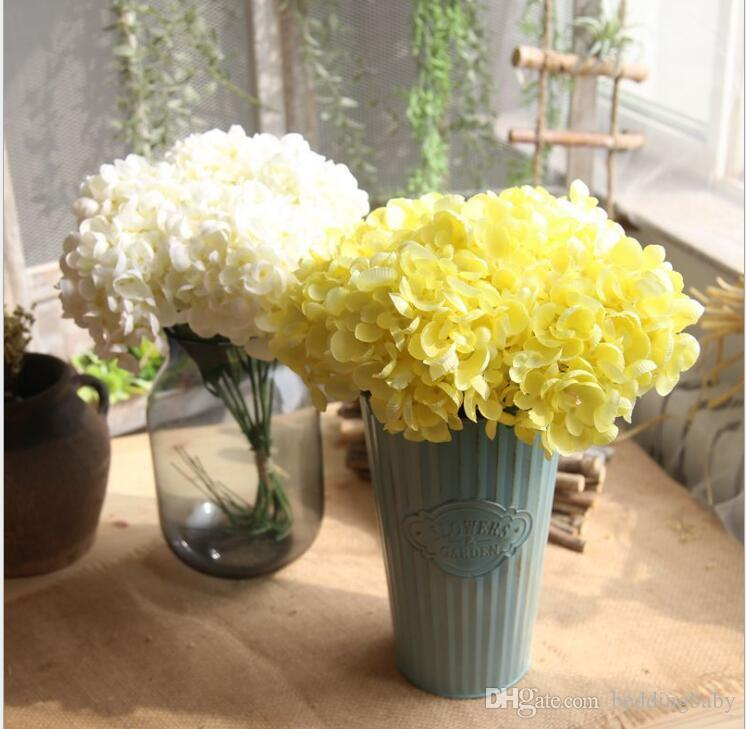 Gefälschte Blumen Blumenkugeln Grün Blau Hortensien Farben Elegante Geschenke für Hochzeit Mittelstücke Balkon Dinning Restaurant Dekorative Blume