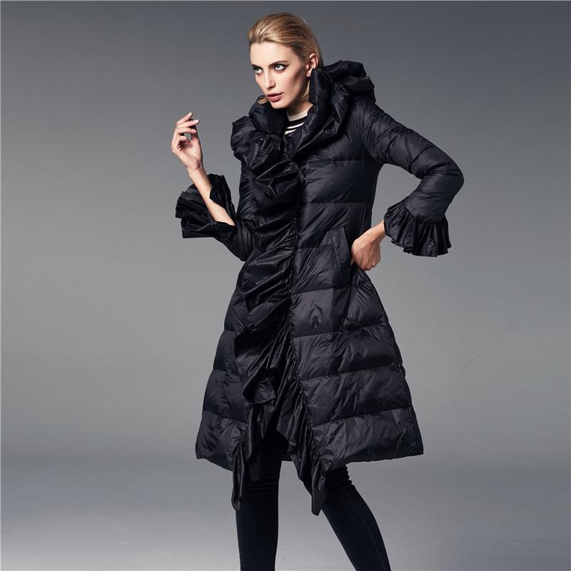 fb7f7b6c7036 2018 Женская пуховик длинные женские пальто старинные Принцесса оборками  теплая ...