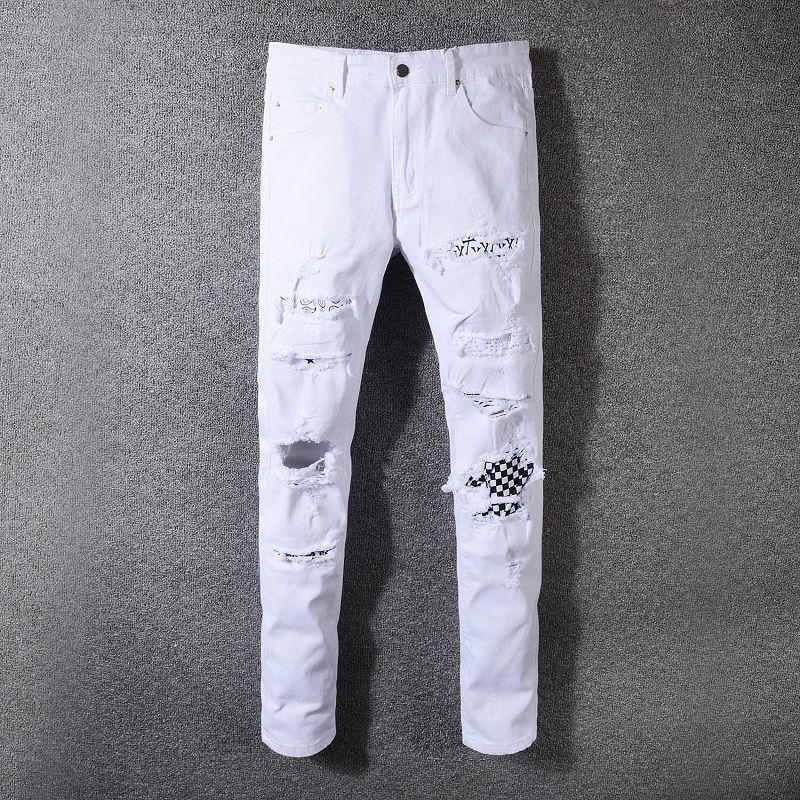 2019 jeans attillati uomo jeans con fori strappati Motociclista Pantaloni in denim Jeans da uomo Designer moda Hip Hop Pantaloni casual da uomo